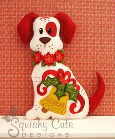 Dog Stuffed Animal Pattern - Felt Plushie Sewing Pattern & Tutorial - Holly the Christmas Dog - Christmas Embroidery Pattern PDF via Etsy