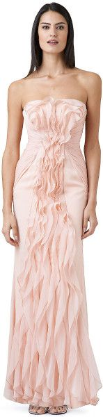 Adrianna Papell Pink Front Ruffle Gown    jaglady