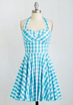 Traveling Cupcake Truck Dress in Aqua Gingham $59.99 AT vintagedancer.com