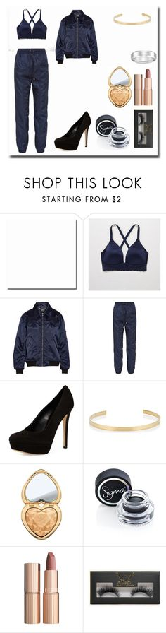 """Casual Recreation of Ariana Grande's Outfit"" by dangerousmistake ❤ liked on Polyvore featuring Aerie, Markus Lupfer, Versus, Charles David, Jennifer Fisher, Too Faced Cosmetics, Sigma, Charlotte Tilbury, Boohoo and ArianaGrande"