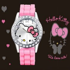 Hello Kitty Rhinestone Watch - 7 Colors