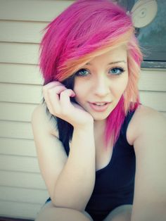 pink and yellow Scene hair. they blend so well :) Emo Scene Hair, Emo Hair, Undercut Hairstyles, Pretty Hairstyles, Bright Hair, Colorful Hair, Dye My Hair, Pink Hair, Yellow Hair