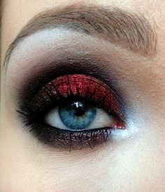 Red black look devil holloween makeup