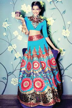 Manish Arora Lehenga, Blouse and Necklace, Judith Leiber Clutch, Zoya Bangle & Cuff