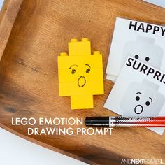 LEGO emotion drawing prompt - a fun way for kids to explore emotions using LEGO from And Next Comes L Sensory Activities For Autism, Emotions Activities, Drawing Activities, Educational Activities For Kids, Kids Learning Activities, Language Activities, Therapy Activities, Play Therapy, Autism Resources