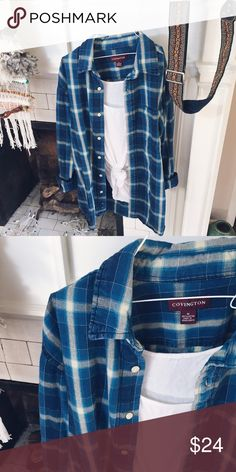 7 in the afternoon Cozy and oversized 🌿🌿🌿 gorgeous blue flannel Tops Button Down Shirts