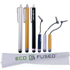 """6 Pack of ECO-FUSED® Stylus Pens! Three Long and Three Short (Silver, Gold, Black) Stylus Pens compatible with iPad 1 2 3, iPhone, iPod Touch, Android Tablets, Samsung Galaxy Tablet - ECO-FUSED® Microfiber Cleaning Cloth 5.5x3.0"""" included ECO-FUSED® http://www.amazon.com/dp/B008VN5O5E/ref=cm_sw_r_pi_dp_J5.2tb1GJSXA0NRT"""