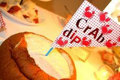 crab dip for a nautical birthday party... what a cute idea
