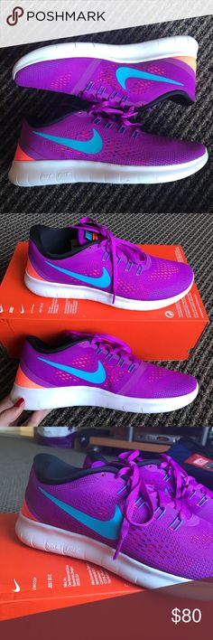 NWT Nike Free RN Sneakers BRAND NEW NEVER WORN IN BOX WITHOUT TOP. Size 8 color hypr vlt/gmm bl-blk-ttl crmsn. Nike Shoes Sneakers