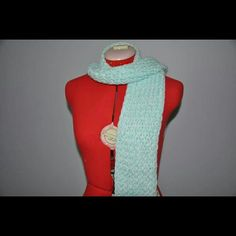 Knit scarf Handmade, white and light blue, brand new Crafts By Casey  Accessories Scarves & Wraps
