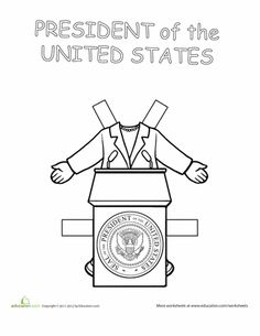 Second Grade Paper Dolls Worksheets: Career Paper Dolls: President!--My Style 6 If I Was President, President Election, Community Helpers Preschool, Career Day, Presidents Day, Writing Paper, Learning Resources, Preschool Activities, School