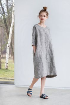 Washed and soft linen kimono tunic/ dress with round neck (if you need a V neckline, please leave a a note while ordering). The model is 172 cm
