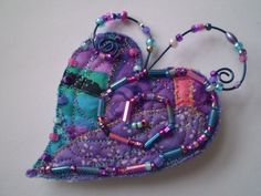 PurpleTurquoiseBlue Quilted beaded Whymsies HEART by MarjorieDade, $22.00