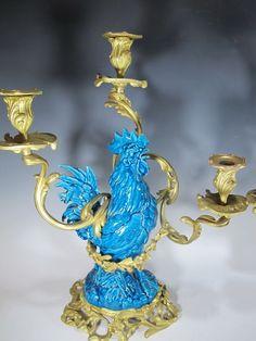 19th Century Pair of Bronze & Turquoise Glazed Porcelain Candelabra - FM04 | eBay