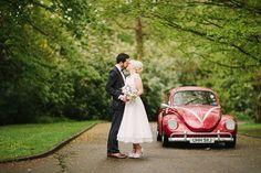 red vw beetle wedding car | onefabday.com. Shoes designed at upperstreet.com