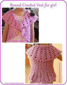Pocket: Round crochet vest for girl: free pattern and tutorial