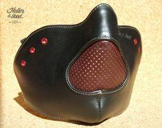 masque cuir moto/motorcycle leather mask/cafe par HollerandHood