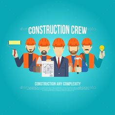 Builders engineers and work men in hard hats concept flat vector illustration. Editable EPS and Render in JPG format