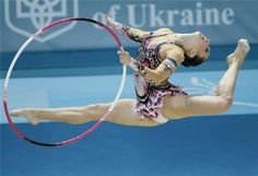 Silviya Miteva of Bulgaria performs during the individual hoop competition final at the 32nd Rhythmic Gymnastics World Championships in Kiev, Aug 28, 2013.