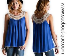 Crochet Sleeveless Tops in new Royal Blue!!! Only $32.50! S,M,L! Also available in Cream and Navy! Click link to order now! http://www.sscboutique.com/collections/frontpage/products/crochet-cream-sleeveles-top #shop #newarrivals #boutique #royalblue