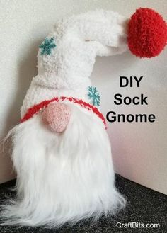 Make this cute DIY Sock Gnome for part of your Christmas decor. This is a fun craft to make with kids. #gnome #diygnomes #sockgnomes #diysockgnomes #christmasgnomes #christmasdecor #diy #christmascrafts #sewing #sewingideas #craftbits
