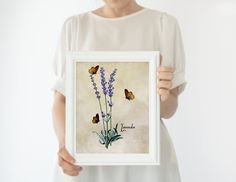 French Country Kitchen Herb Wall Decor, Lavender Art Print, Floral Botanical Print Butterfly Artwork, Floral Artwork, Floral Wall Art, Paris Theme Decor, Framed Art Prints, Wall Art Prints, Decoraciones Ramadan, Herb Art, Impressions Botaniques