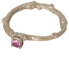 Michelle Oh Pink Tourmaline Gold Twig Ring (1.700 BRL) ❤ liked on Polyvore featuring jewelry, rings, pink tourmaline jewelry, round cut rings, gold rings, pink tourmaline ring and white gold rings