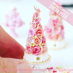 Miniature pièce montée made from hand-sculpted roses. Topped with a pink butterfly. Part of our Pink Collection 2016 - coming soon! www.parisminiatures.etsy.com
