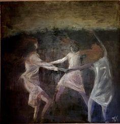The sisters's sabba  Oil on Wood - Alessandra Spigai - 100x 100