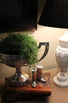 Place a plant inside a trophy for equestrian decor in your living room Decor, Silver Decor, Alabaster Lamp, Silver Bowl, Horse Decor, English Country Style, Home Decor, House Interior, Old Trophies
