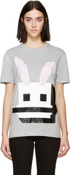 McQ Alexander Mcqueen - Grey Bunny Graphic Pullover