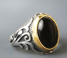 MEN's Handmade Ring Sterling Silver 925 K with Black Onyx 11 US US $22.45