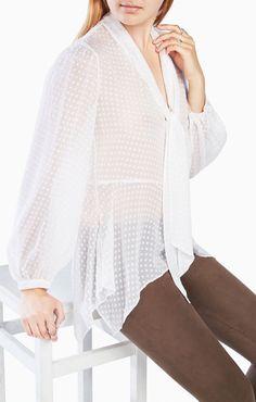 Kelleigh Tie-Neck Clipped Dot Top