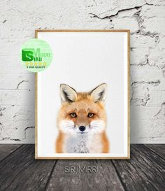 Fox Print, Woodlands Fox Wall Art, Nursery Animal Print, Printable Woodlands Fox Animal, Fox Photo, Woodland Creatures, Fox Nursery Print by SiriiMirri on Etsy