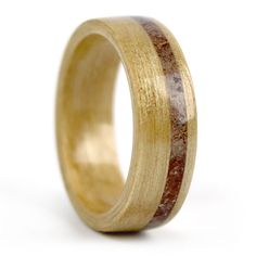Wood ring made of Birch using our Birthwood concept and garnet birthstone inlay. Handcrafted by Simply Wood Rings in Chicago, IL