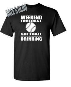 Weekend Forecast Softball with a chance of Drinking. Softball Dad Shirt. Coach GIft. Funny Softball Shirt. Unisex Shirt. Drinking Shirt. by TNTCustomApparel on Etsy https://www.etsy.com/listing/285872343/weekend-forecast-softball-with-a-chance