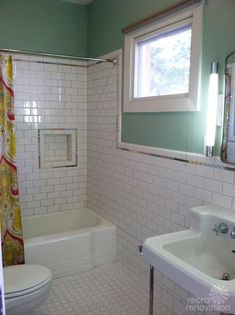 "vintage ""sizzle strips"" line the recently rennovated bathroom."