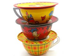 Vintage tin toy tea cups with matching saucers. by AlliesAdornments, via Flickr