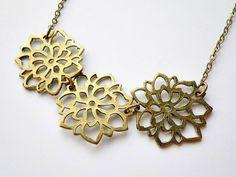 string of three flower filigree charm pendant by VintageHomage, $8.00