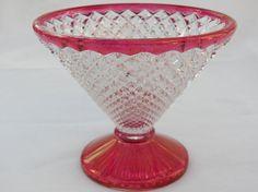 Vintage Ruby Red Flash Rim Glass  Diamond by 1littletreasureshop, $16.70