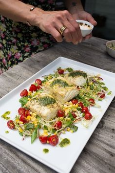 Grilled Halibut with Herb Pesto Tomato Salad