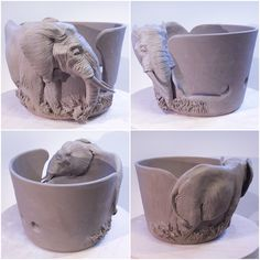 Elephant yarn bowl. Coloured and glazed in the new year. Made to order from earthwoolfire.etsy.com