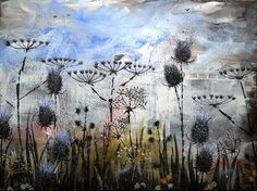 Flowers and Thistles II. x Acrylic on Canvas by LittleCottageArtCo on Etsy Cottage Art, Summer Breeze, Late Summer, Landscape Paintings, Thistles, The Originals, Canvas, Handmade Gifts, Flowers