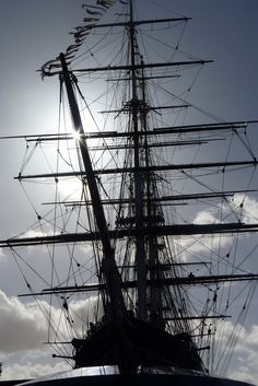 Cutty Sark launched in 1869 - the only surviving tea clipper. Greenwich in London, sadly it caught fire but is being renovated. YAY