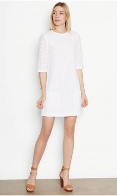 AUBREY COTTON DRESS - WHITE COTTON EYELET