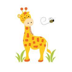 GIRAFFE MURAL DECAL Wall Art Baby Boy Safari Jungle Animal Nursery Kids Room Childrens Zoo Bedroom Bee Stickers Art Decor