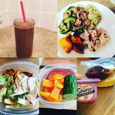 My day in meals! For a complete breakdown check out my blog!  Link in bio!  Meal 1: shakeo  Meal 2: Veggies  Meal 3: chicken veggies yams tsp  Meal 4: yogurt Apple almonds  Meal 5: steamed veggies roasted squash chicken and pesto rice (maybe 2)  tsp by halistic_gets_fit