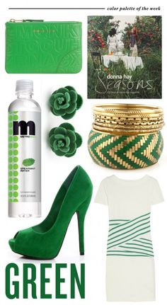 love green so much. those earrings, bracelets, bag and more!