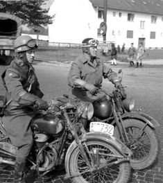 Two soldiers on their motorcycles during the war     Follow our Pinterest at http://pinterest.com/lcralliesinfo    Ride safe,  JB	    LightningCustoms.com Motorcycle Rallies Site  http://www.lightningcustoms.com/motorcycleevents.html