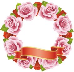 画像サンプル-ピンクのバラのフレーム・花輪